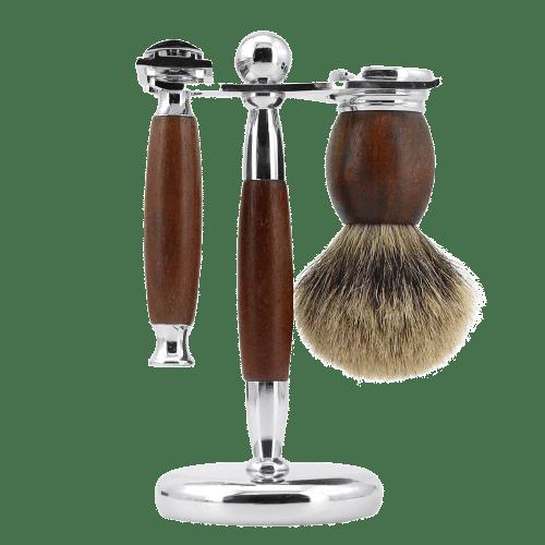 Rasierhobel premium Set Holz dunkel
